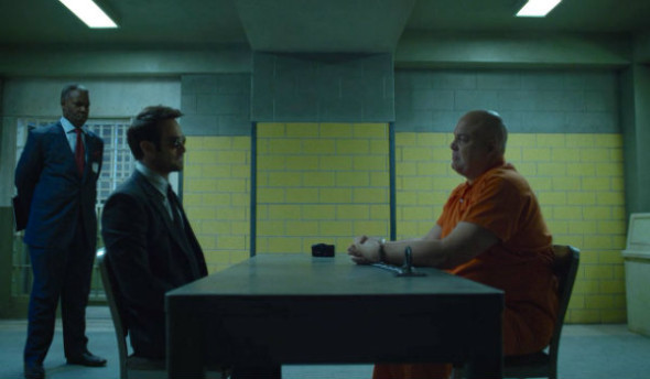 "Danny Johnson, Charlie Cox and Vincent D'onofrio as Benjamin Donovon, Matt Murdock ""Daredevil,"" and Wilson Fisk ""Kingpin"" in ""The Man in the Box"""